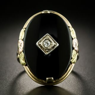 Art Deco Tri-Color Gold Diamond and Onyx Ring - 2