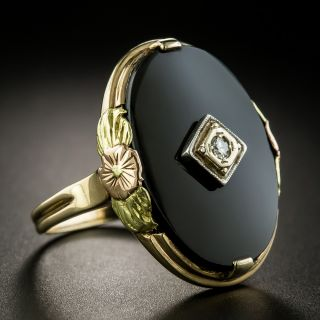 Art Deco Tri-Color Gold Diamond and Onyx Ring