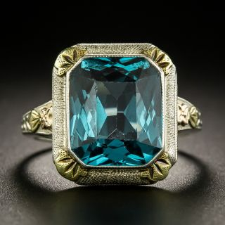 Art Deco Tri-Color Gold Synthetic Spinel Ring - 3