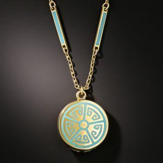 Art Deco Turquoise Enamel Locket Necklace - 2