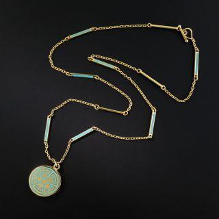 Art Deco Turquoise Enamel Locket Necklace