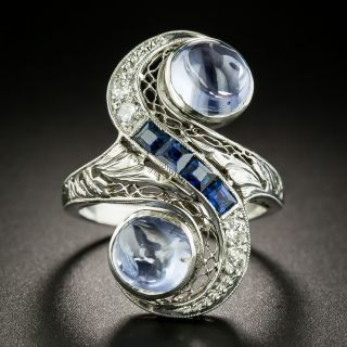 Art Deco Twin Cabochon Sapphire and Diamond Dinner Ring - 2