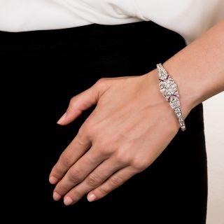 Art Deco Twin Diamond and Calibre Ruby Bracelet