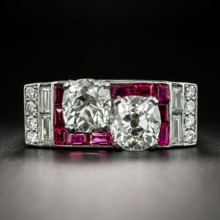Art Deco Twin Diamond and Ruby Ring - 2