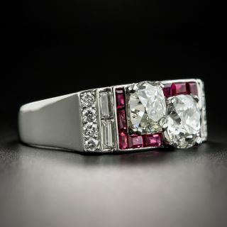 Art Deco Twin Diamond and Ruby Ring