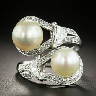 Art Deco Twin Natural Pearl and Diamond Bypass Dinner Ring - GIA - 2