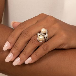 Art Deco Twin Natural Pearl and Diamond Bypass Dinner Ring - GIA
