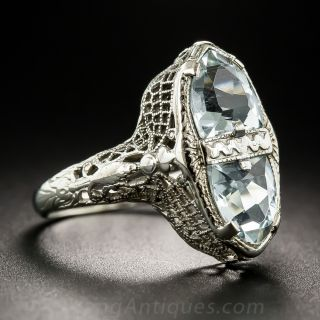 Art Deco Twin-Stone Aquamarine Ring by Belais