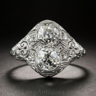 Art Deco Twin Stone Diamond 'Toi et Moi' Ring - 2