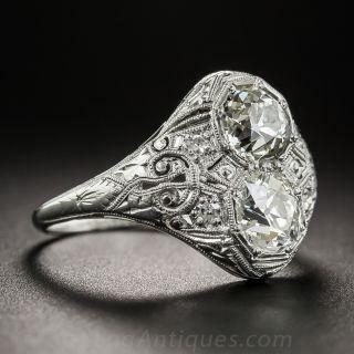 Art Deco Twin Stone Diamond 'Toi et Moi' Ring