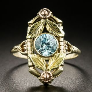 Two-Tone Gold Blue Zircon Ring  - 2