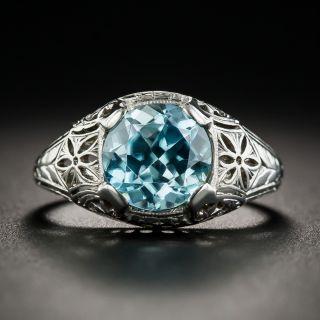 Art Deco Zircon 18K White Gold Ring by Whitehouse Bros. - 1