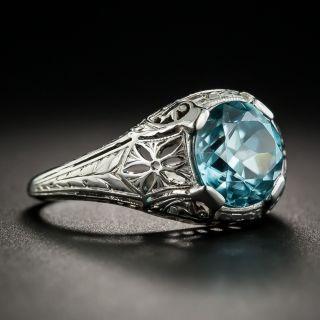 Art Deco Zircon 18K White Gold Ring by Whitehouse Bros.