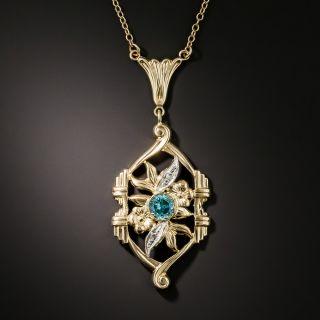 Art Deco Zircon and Diamond Pendant by Shiman - 2