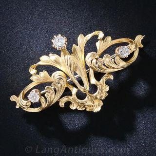Art Nouveau 22K Gold and Diamond Brooch - 1