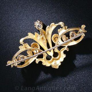 Art Nouveau 22K Gold and Diamond Brooch