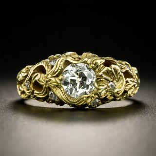 Art Nouveau .69 Carat Diamond Engagement Ring - GIA K VS2 - 2