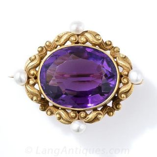 Art Nouveau Amethyst and Pearl Watch Pin