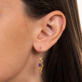 Art Nouveau Amethyst Dangle Earrings