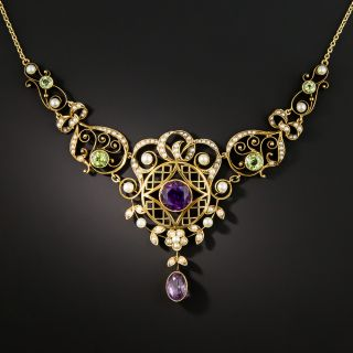 Art Nouveau Amethyst, Peridot, and Pearl Necklace - 2