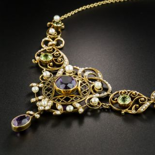 Art Nouveau Amethyst, Peridot, and Pearl Necklace