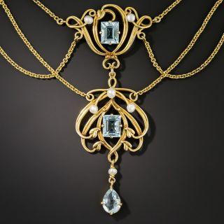 Art Nouveau Aquamarine and Pearl Necklace