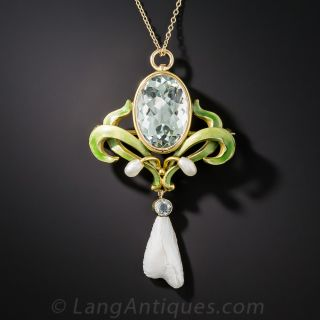 Art Nouveau Aquamarine, Enamel and Freshwater Pearl Pendant Necklace by Bippart - 1