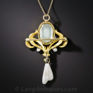 Art Nouveau Aquamarine, Enamel and Freshwater Pearl Pendant Necklace by Bippart