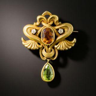 Art Nouveau Citrine and Peridot Brooch - 2