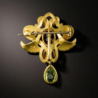 Art Nouveau Citrine and Peridot Brooch