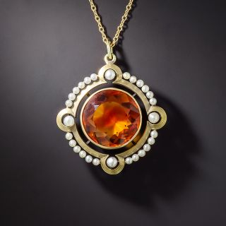 Art Nouveau Citrine and Seed Pearl Circular Pendant by The Brassler Company - 1