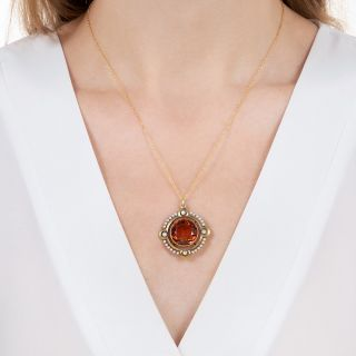 Art Nouveau Citrine and Seed Pearl Circular Pendant by The Brassler Company