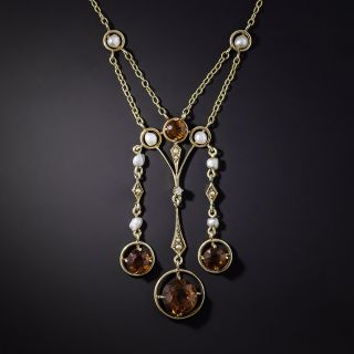 Art Nouveau Citrine and Seed Pearl Swag Necklace - 1
