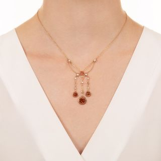 Art Nouveau Citrine and Seed Pearl Swag Necklace