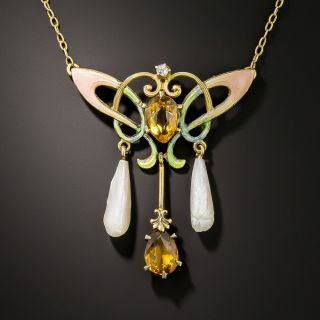 Art Nouveau Citrine Enamel and Diamond Necklace by Ehrlich and Sinnock