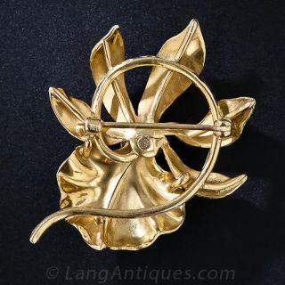 Art Nouveau Diamond and Enamel Orchid Pin