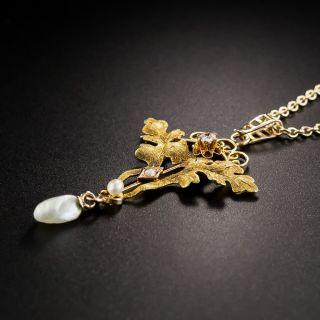 Art Nouveau Diamond and Freshwater Pearl Lavaliere