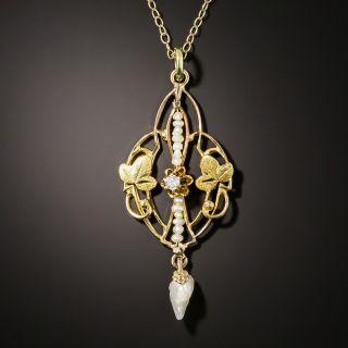 Art Nouveau Diamond and Pearl Pendant - 3