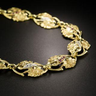 Art Nouveau Diamond and Ruby Floral Bracelet