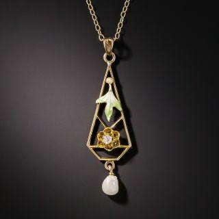 Art Nouveau Diamond, Enamel and Pearl Drop Necklace - 2