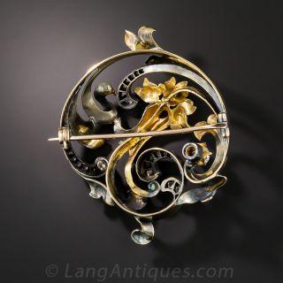 Art Nouveau Diamond Swirl Brooch