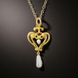 Art Nouveau Double Heart Pearl Necklace - 2