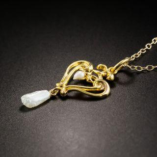 Art Nouveau Double Heart Pearl Necklace