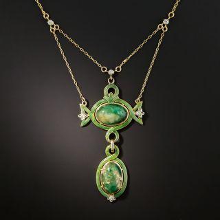 Art Nouveau Emerald and Diamond Lavalière Necklace - 2