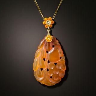 Art Nouveau Enamel and Carved Carnelian Necklace - 3