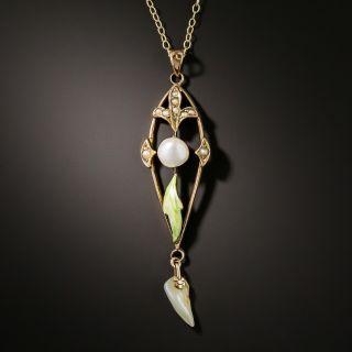 Art Nouveau Enamel and Pearl Pendant by Charles Keller Company - 2