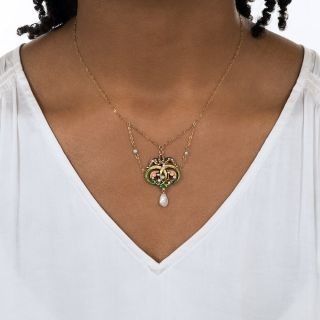 Art Nouveau Enamel and Pearl Swag Necklace