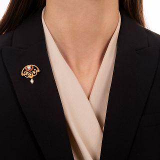 Art Nouveau Enamel, Diamond and Pearl Pin by Bippart, Griscom & Osborne