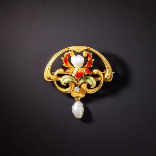 Art Nouveau Enamel, Diamond and Pearl Pin by Bippart, Griscom & Osborne - 1