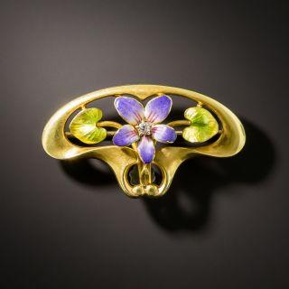 Art Nouveau Enamel Diamond Flower Brooch by Krementz - 2